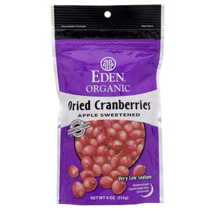 Eden Organic Dried Cranberries Apple Sweetened 113g