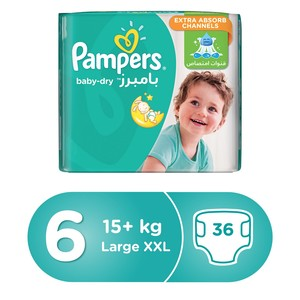 Pampers Baby-Dry Diapers, Size 6, Extra Large, 13+ kg, Mega Pack, 36 Count