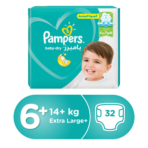 Pampers Baby Dry Diapers Size 6+ , 14+kg,Extra Large+ 32pcs