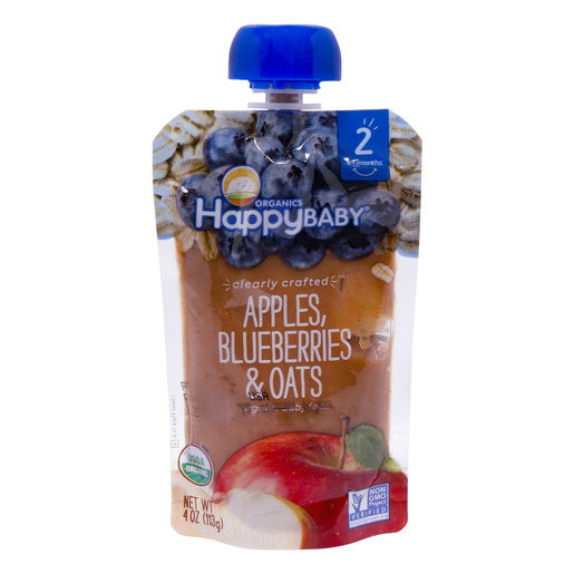 Organics Happy Baby Organic Baby Food Apples, Blueberries & Oats 113g