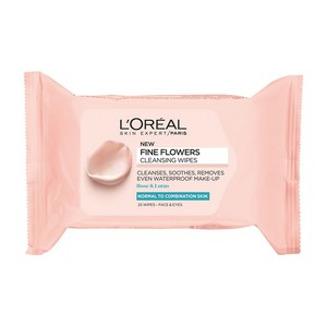 L'Oreal Paris Fine Flowers Cleansing Wipes Normal to Combination Skin 25pcs