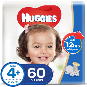 Huggies Diapers Comfy Fit Size 4+, Extra Large 9-20kg 60pcs