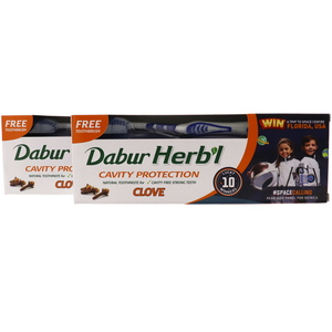 Dabur Herbal Clove Toothpaste For Cavity Protection 2 x 150g + Toothbrush
