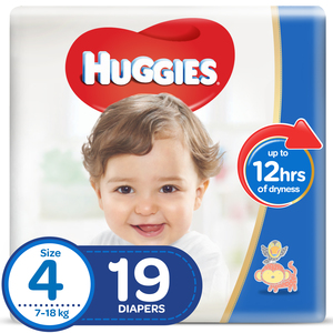 Huggies Diapers Size 4, Large 7-18kg 19pcs