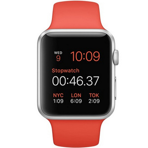 Apple Watch Sport MLC42 42mm Silver Aluminum Case with Orange Sport Band