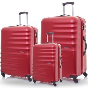American Tourister Preston Hard Trolley 3Pc Set 55cm, 67cm, 77cm Red