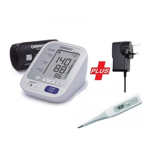 Omron Blood Pressure Monitor M3 + Omron Thermometer + A/C Adaptor