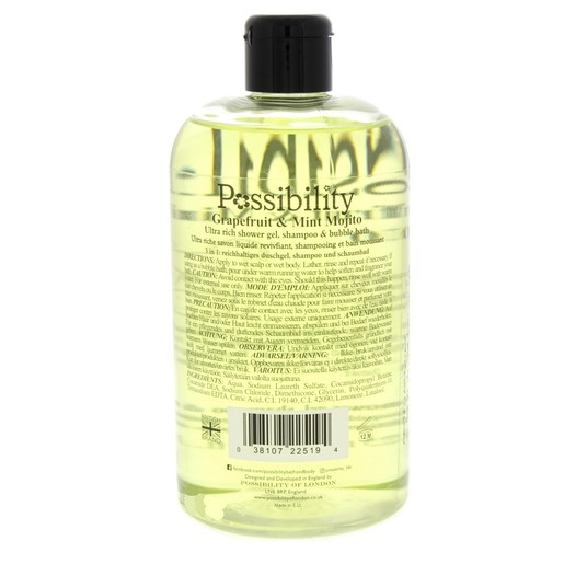 Possibility Grapefruit And Mind Mojito Ultra Rich Shower Gel, Shampoo And Bubble Bath 525ml