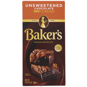Bakers Cacao Unsweetened Premium Baking Chocolate Bar 113g