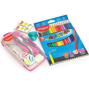 Maped Math Set + Color Pencil 18 Pieces + Eraser 2 Pieces + Sharpener 1 Piece