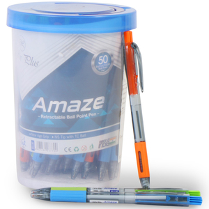 Win Plus Amaze Retractable Ball Point Pen Blue 50's