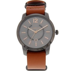 Giordano Men's Analog Watch Brown Strap With Grey Dial 1791-00
