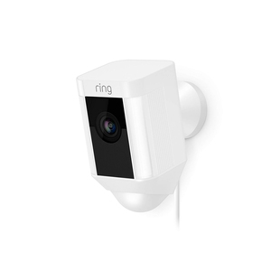 Ring Spotlight Cam Wired , HD Security Camera with LED Spotlight, Alarm, Two-Way Talk, White
