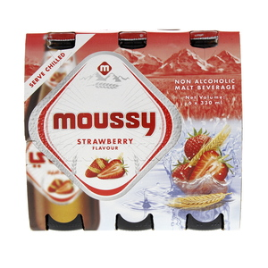 Moussy Strawberry Flavour Non Alcoholic Malt Beverage 6 x 330ml