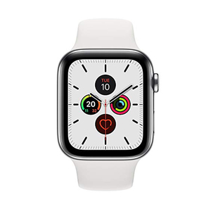 Apple Watch Series 5 GPS + Cellular MWWF2AE 44mm Stainless Steel Case with White Sport Band
