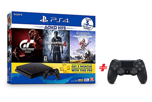 Sony PS4 Console 500GB+Horizon Zero Dawn+Uncharterd 4+Gran Turismo+3Month Playsation Plus+Controller