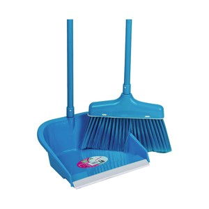 Smart Klean Long Broom with Dustpan Set 8045-L  2pcs Assorted Colors
