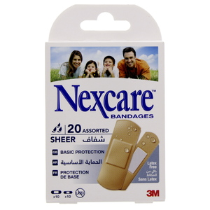 Nexcare Bandage Sheer Assorted 20pcs