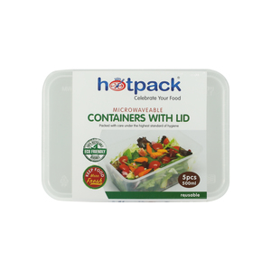Hot Pack 500ml Microwavable Container with Lid 5pcs