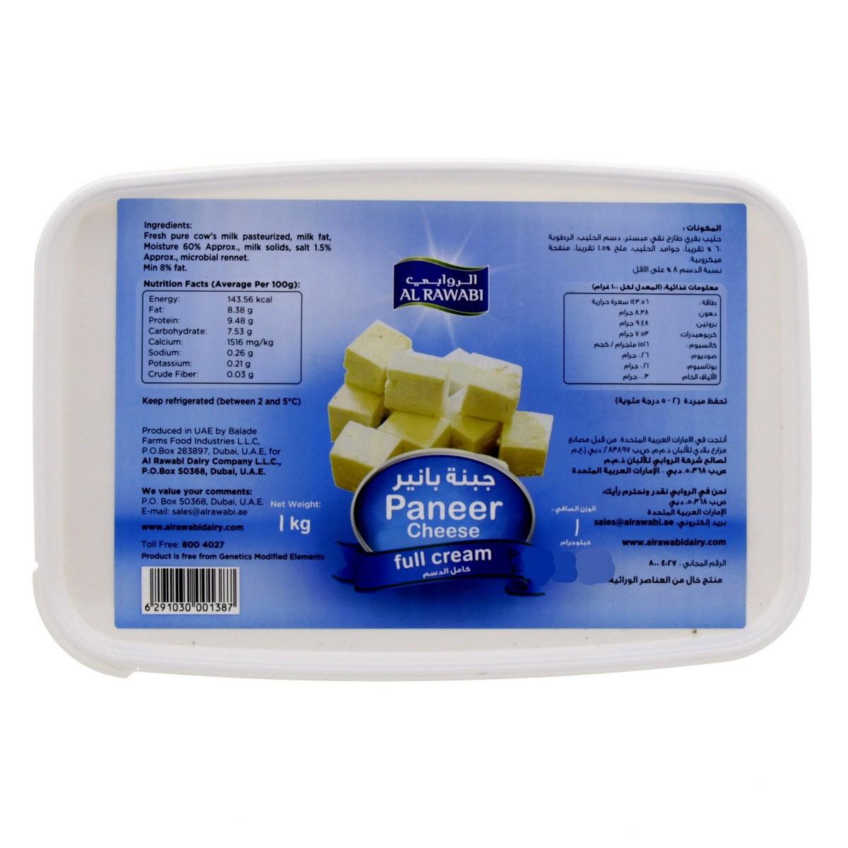 Buy Al Rawabi Paneer Cheese Full Cream 1kg - Soft Cheese