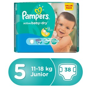Pampers Active Baby Dry Diapers, Size 5, Junior, 11-18kg, Value Pack, 38pcs