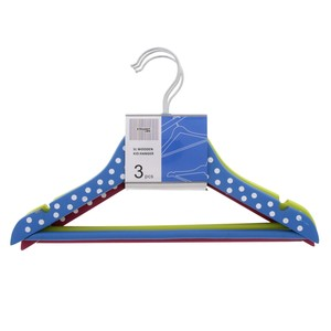 Straight Line Wooden Kid Hanger 3pcs